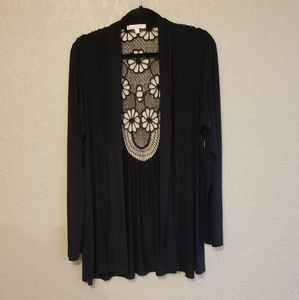 BLACK CARDIGAN WITH CROCHETED INSERT